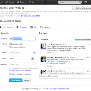 How to get a new twitter widget to fix that broken tweetstream.